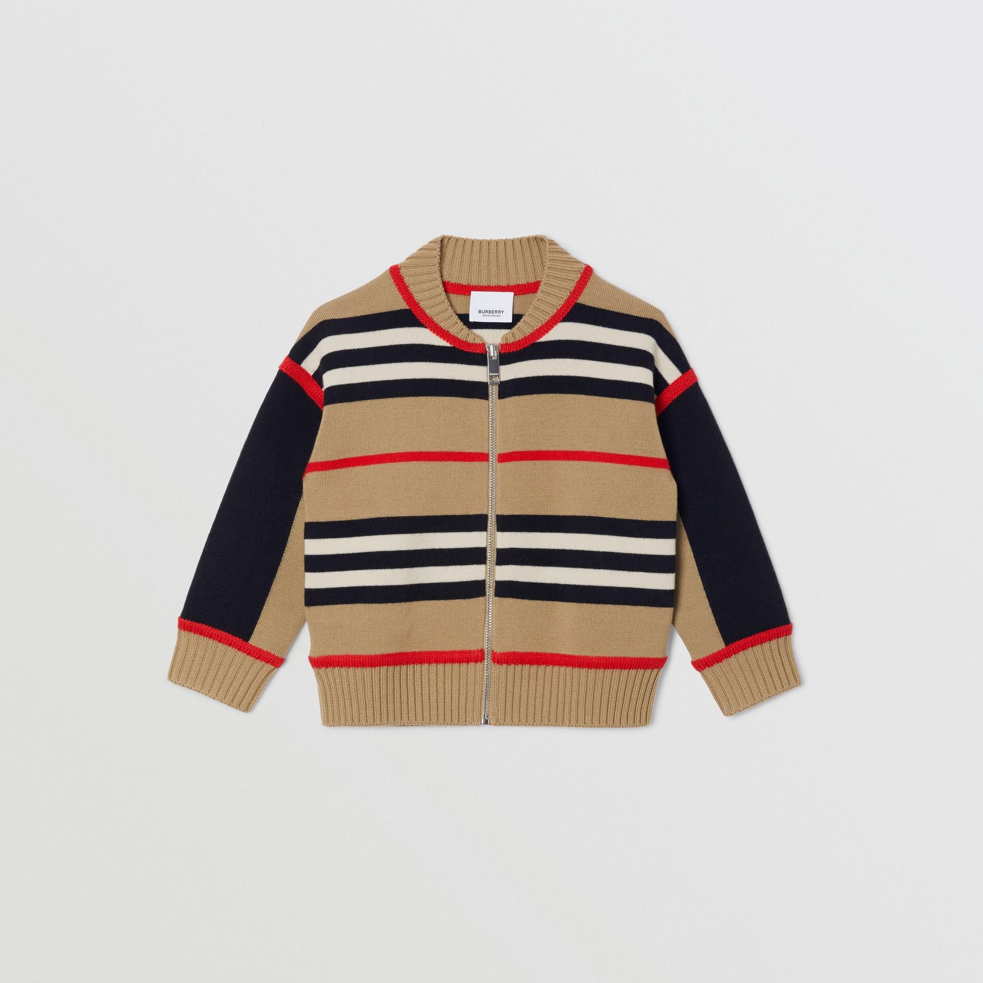 Icon Stripe Wool Cashmere Blend Cardigan | Burberry United Kingdom - gallery image 0