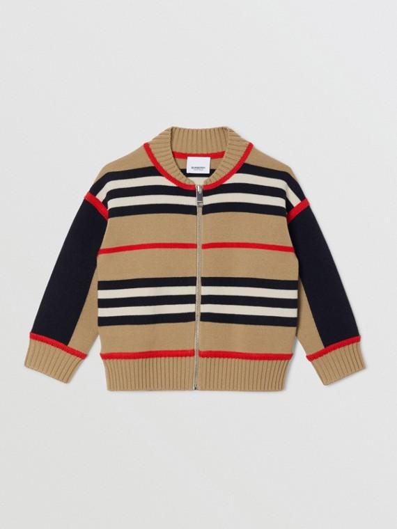 Icon Stripe Wool Cashmere Blend Cardigan