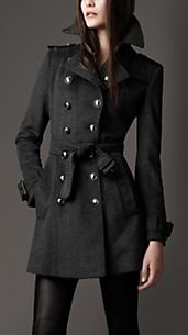 Mid-Length Wool Cashmere Trench Coat