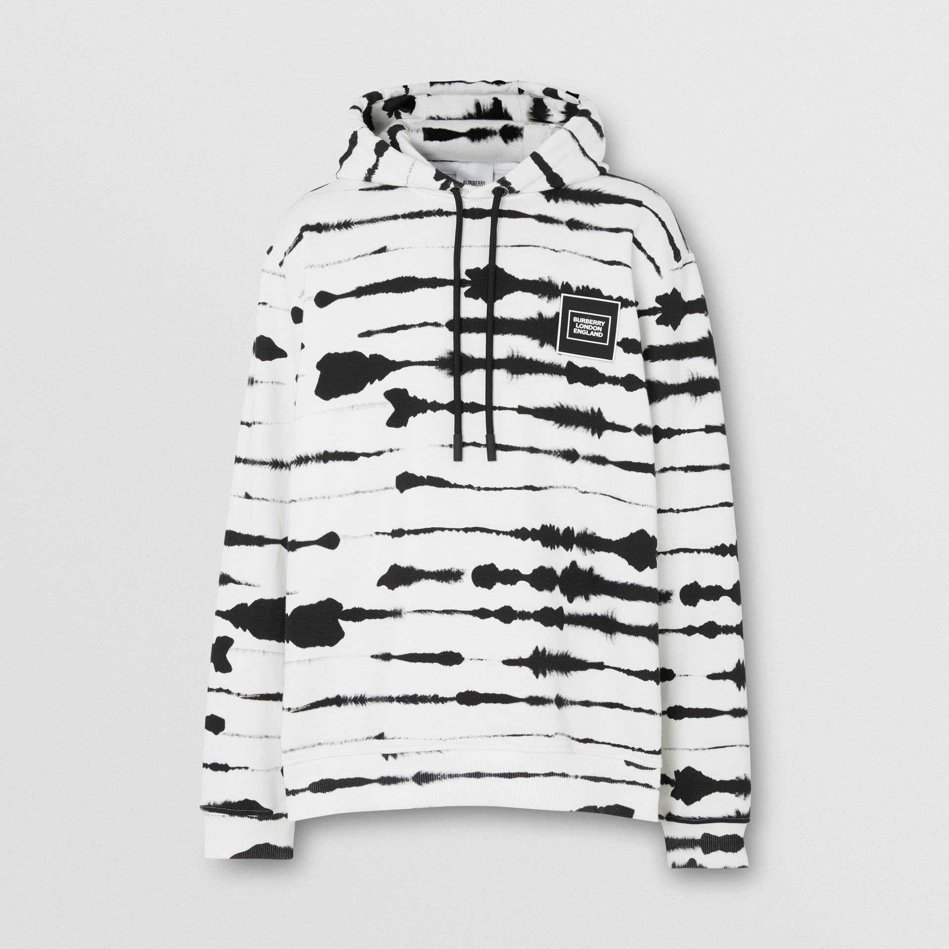 Logo Appliqué Watercolour Print Cotton Hoodie in Monochrome | Burberry Australia - gallery image 3