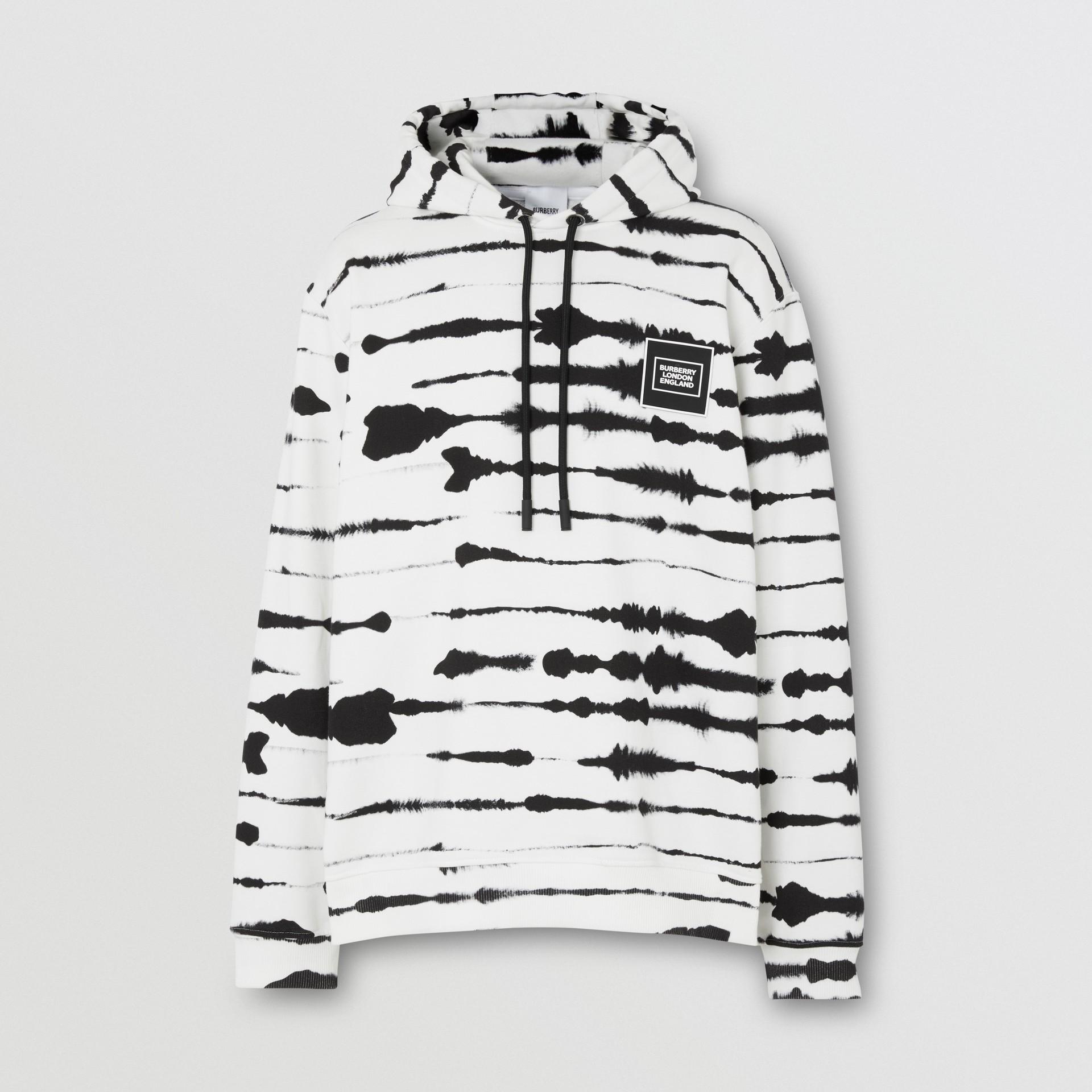 Suéter com capuz com estampa de aquarela e logotipo (Monocromático) | Burberry - galeria de imagens 3