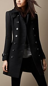 Mid-Length Double Wool Twill Trench Coat