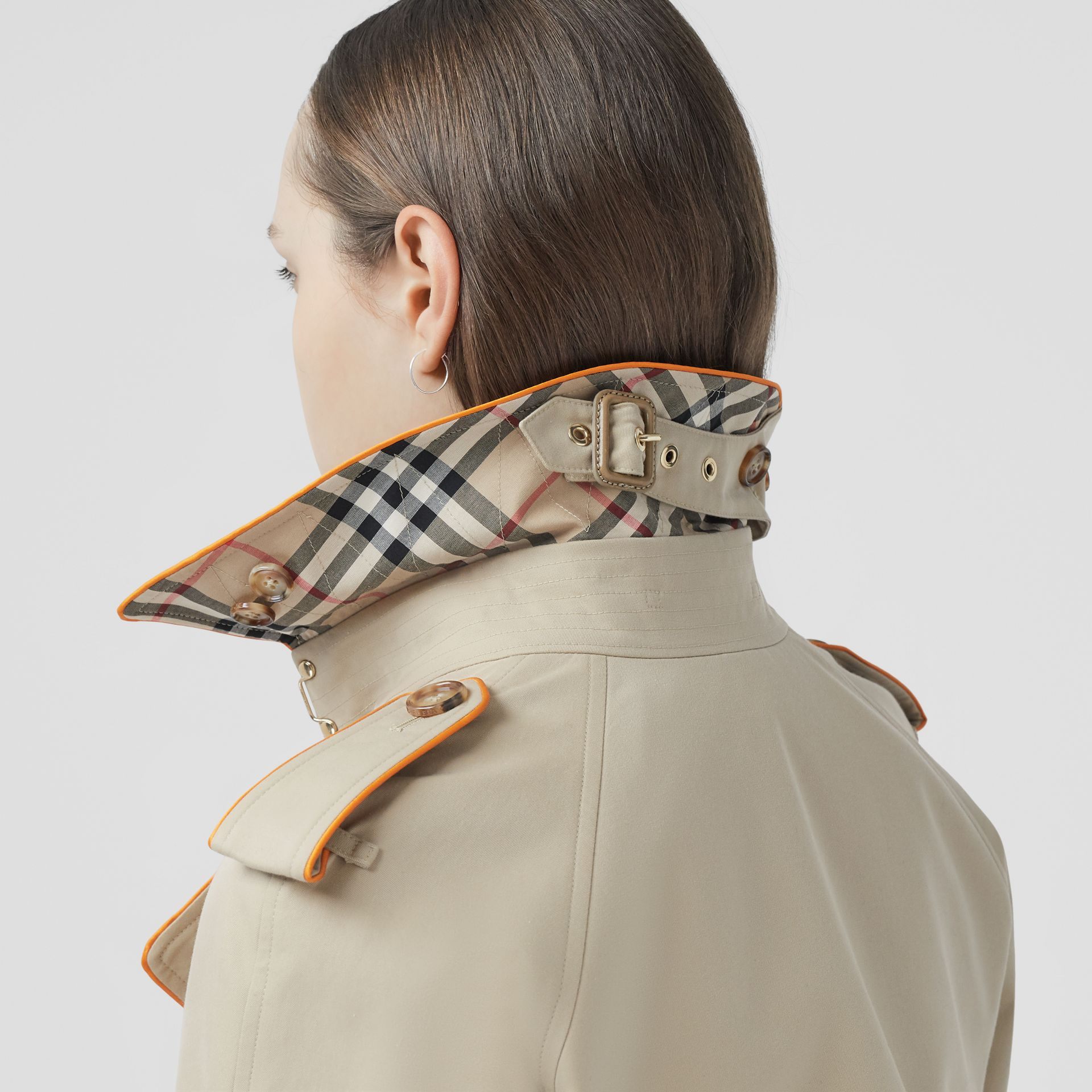 Piped Cotton Gabardine Trench Coat in Honey - Women | Burberry - gallery image 2