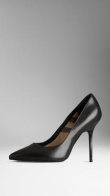 黑色 手绘皮革尖头高跟鞋 - 图 1
