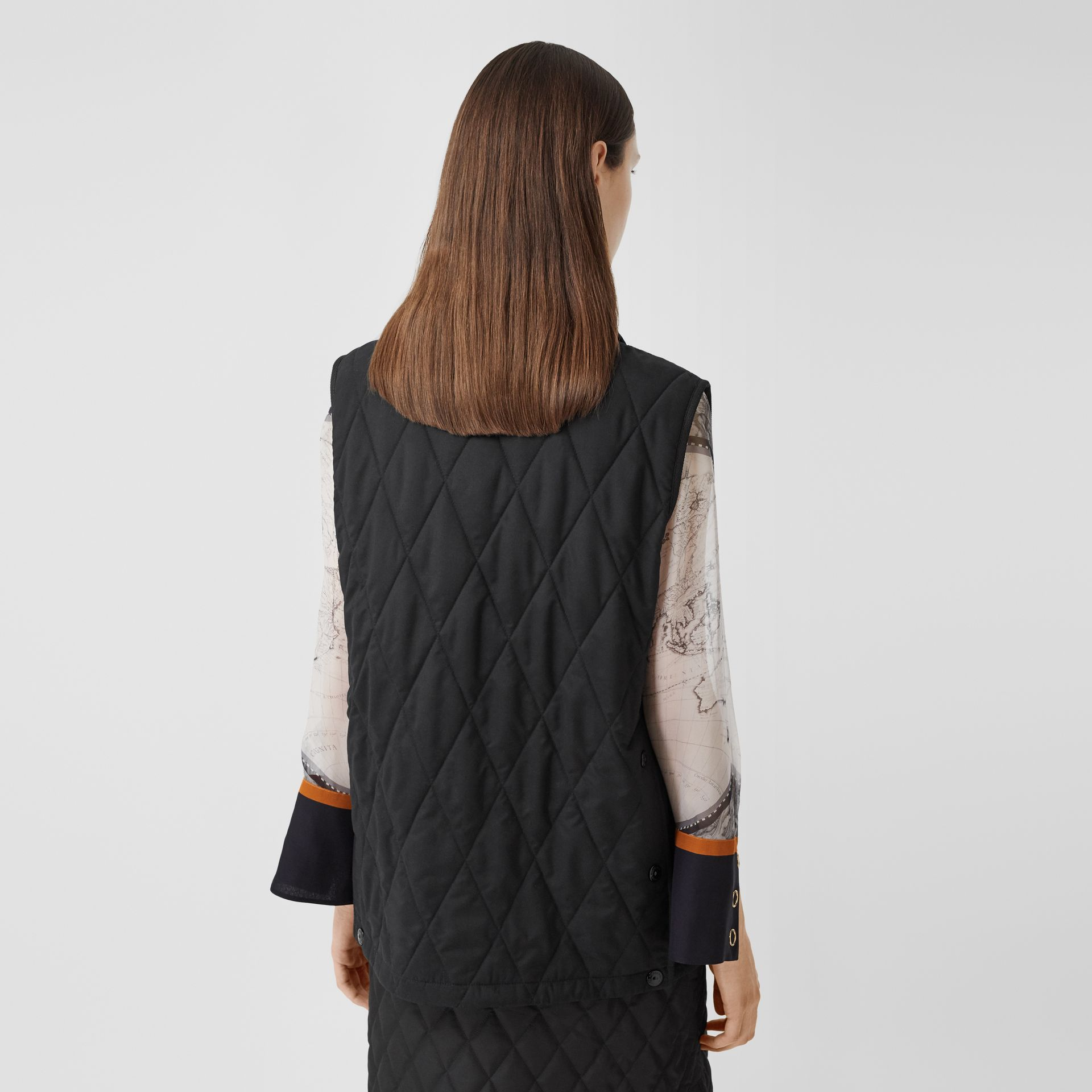 Diamond Quilted Gilet in Black   Burberry United Kingdom - gallery image 2