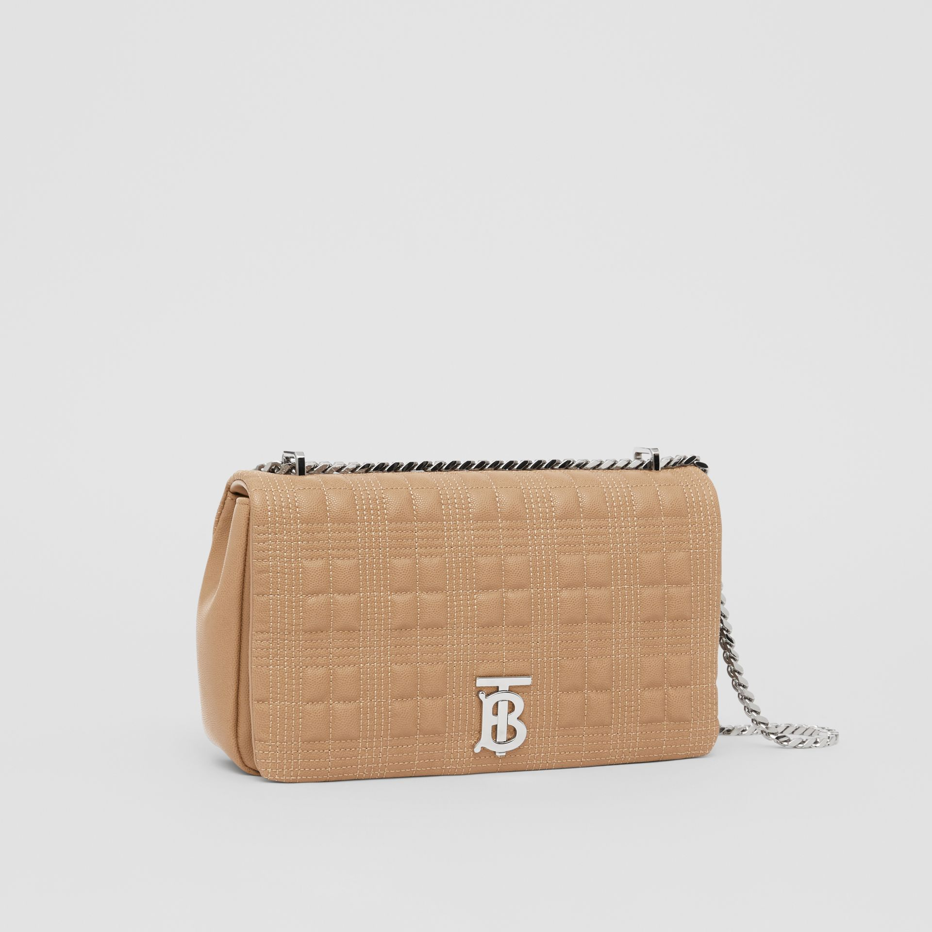 Medium Quilted Grainy Leather Lola Bag in Camel/palladium - Women | Burberry - gallery image 6