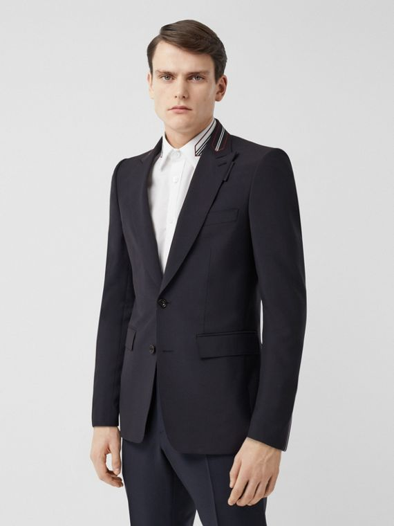 English Fit Stripe Detail Wool Mohair Tailored Jacket in Navy