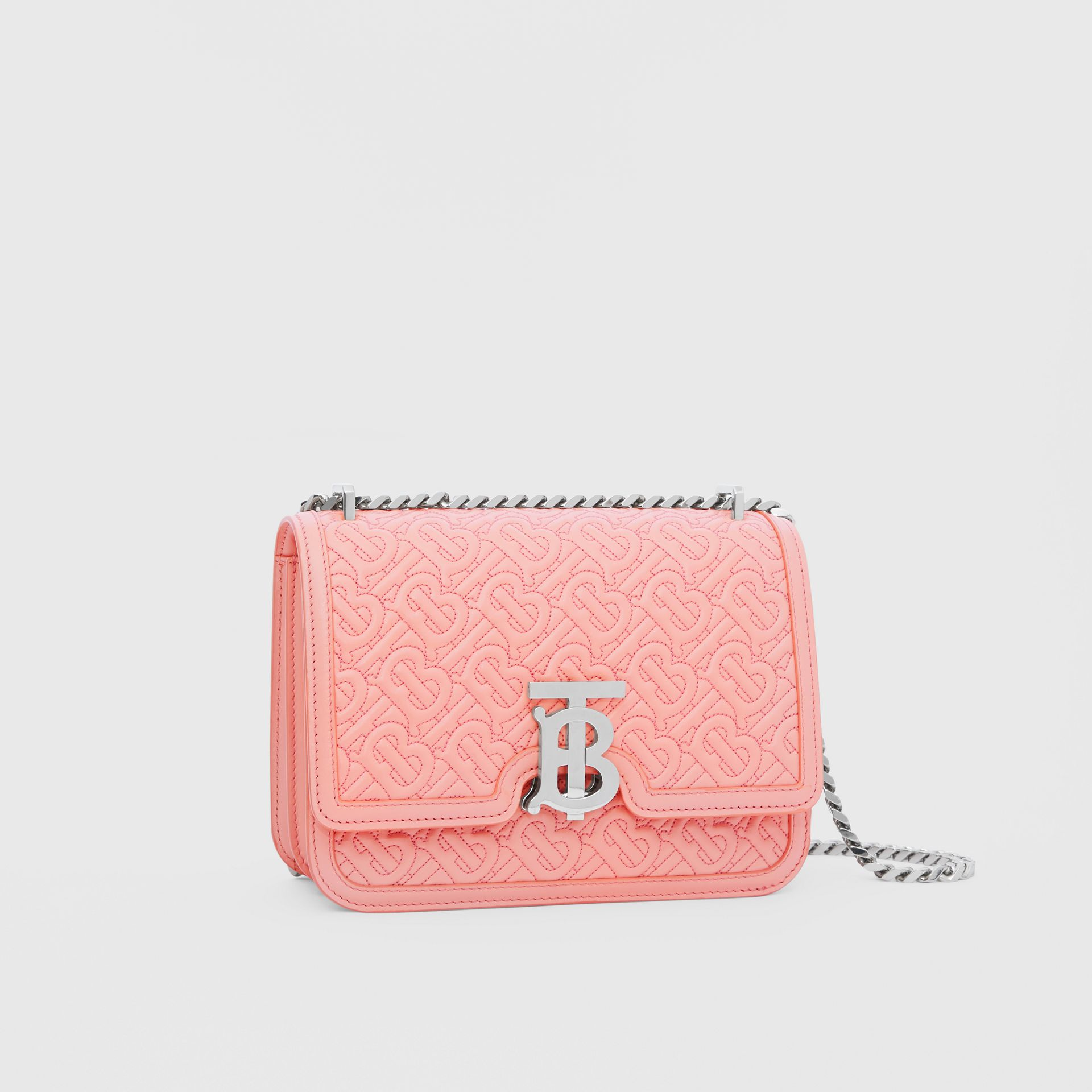 Small Quilted Monogram Lambskin TB Bag in Blush Pink - Women | Burberry - gallery image 6