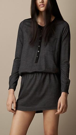 Wool Blend Henley Dress