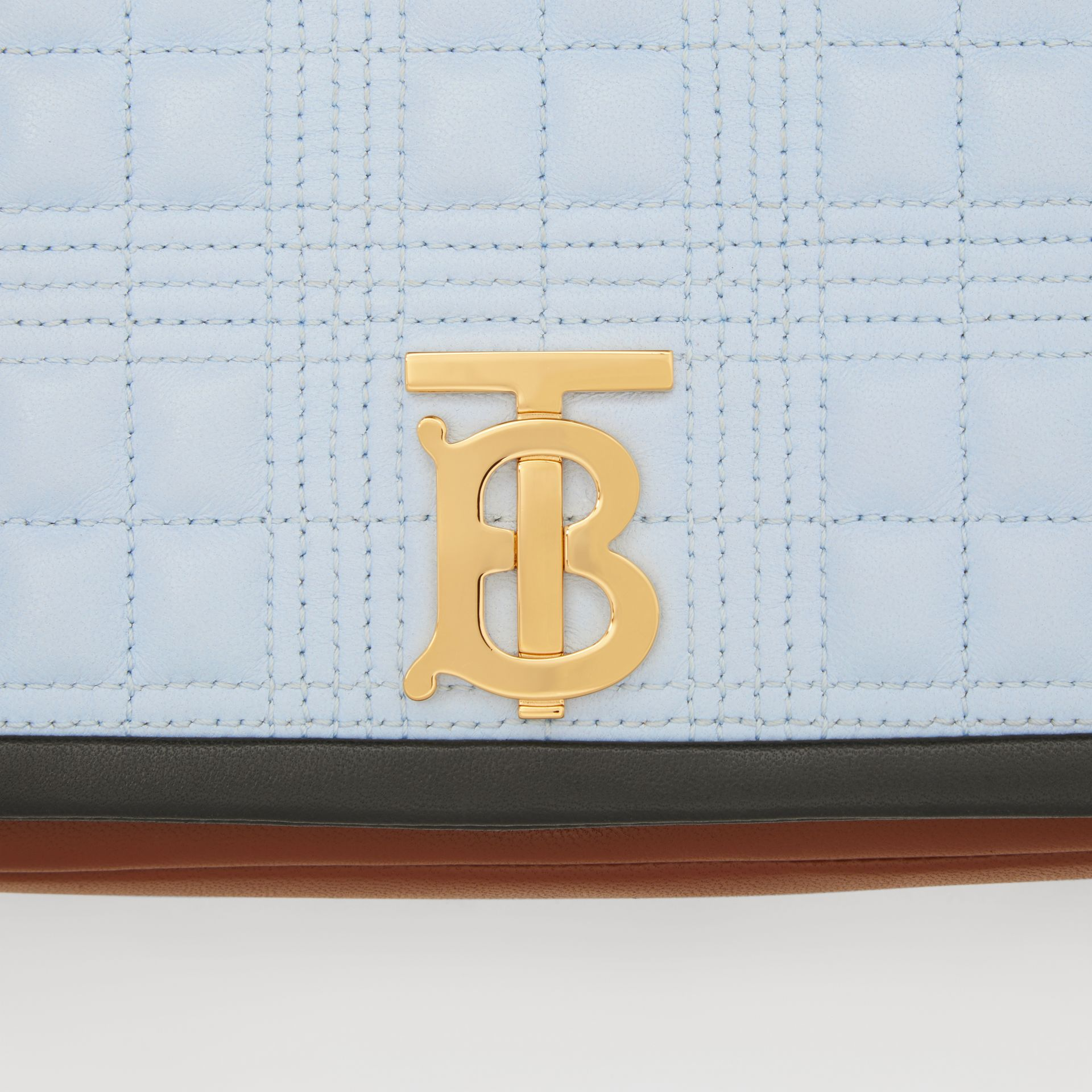 Small Quilted Tri-tone Lambskin Lola Bag in Pale Blue/dark Pine - Women | Burberry - gallery image 10