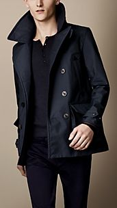 Leather Detail Seam-Sealed Pea Coat