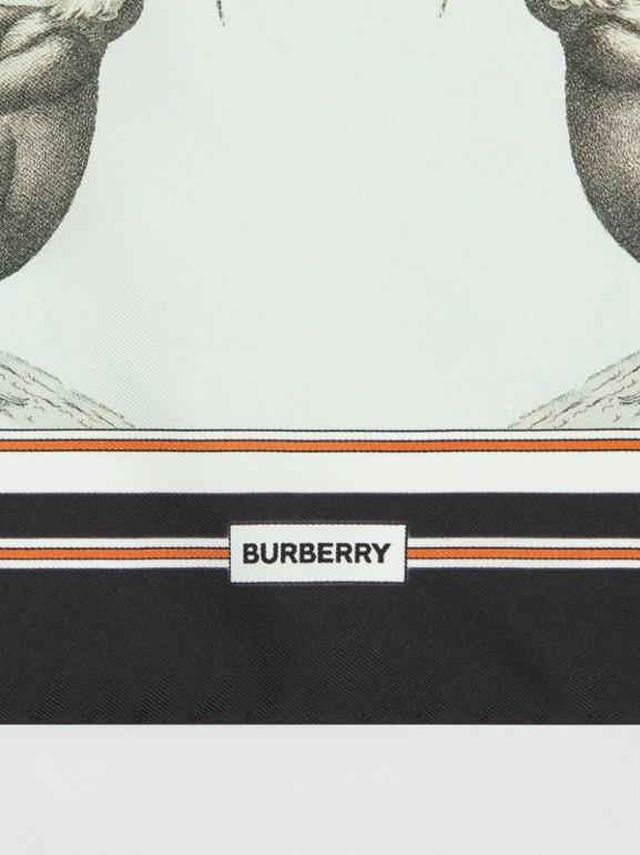 猴子印花絲綢小型方巾 (淺蛋白石綠) | Burberry - cell image 1