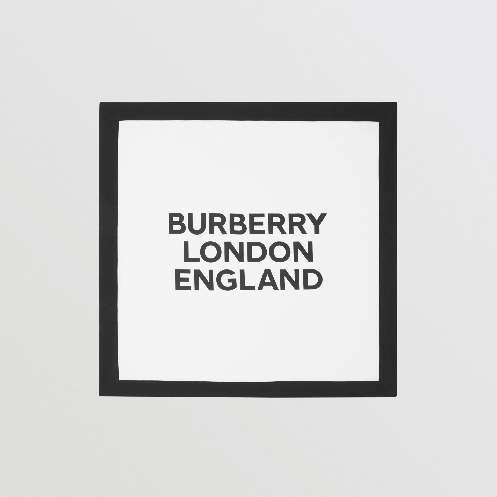 Logo Print Organic Cotton Baby Blanket in White - Children | Burberry United Kingdom - gallery image 0