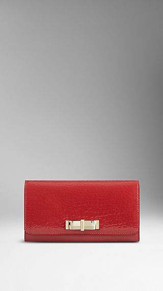 Bow Detail Patent Leather Continental Wallet