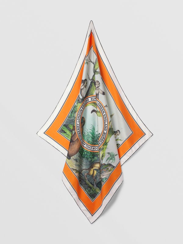 Monkey Print Silk Square Scarf in Light Opal Green | Burberry - cell image 3