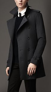 Mid-Length Technical Wool Trench Coat