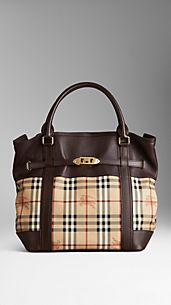 Medium Leather Haymarket Check Tote Bag