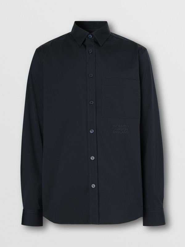 Embroidered Logo Cotton Blend Shirt in Navy | Burberry United Kingdom - cell image 3