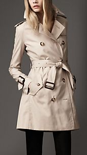 Trench-coat mi-long à poignets larges en coton technique