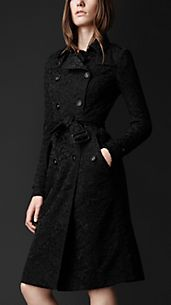 Trench coat con parte posteriore in pizzo