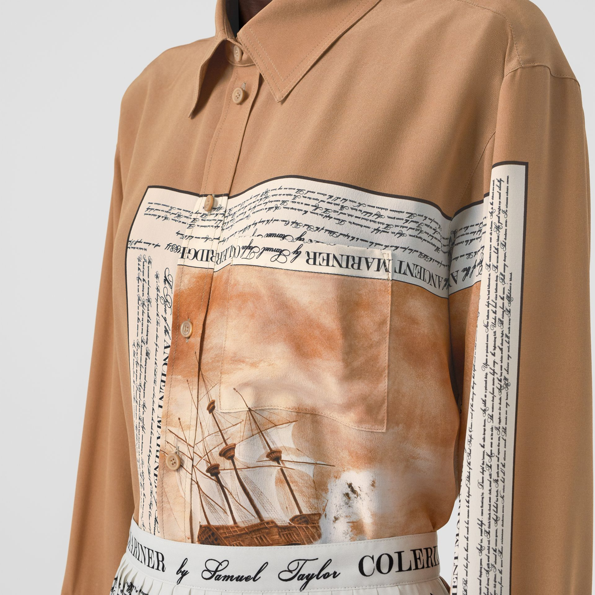 Mariner Print Silk Oversized Shirt in Bronze - Women | Burberry - gallery image 1