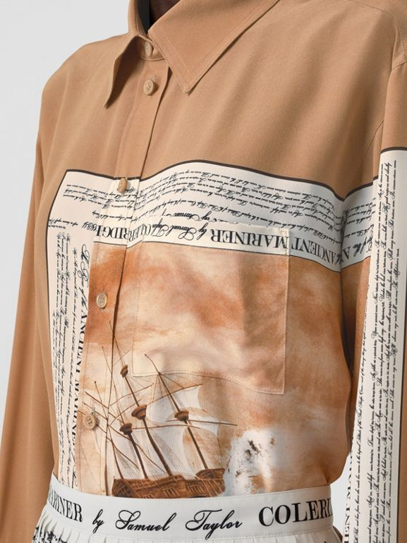 Mariner Print Silk Oversized Shirt in Bronze - Women | Burberry - cell image 1