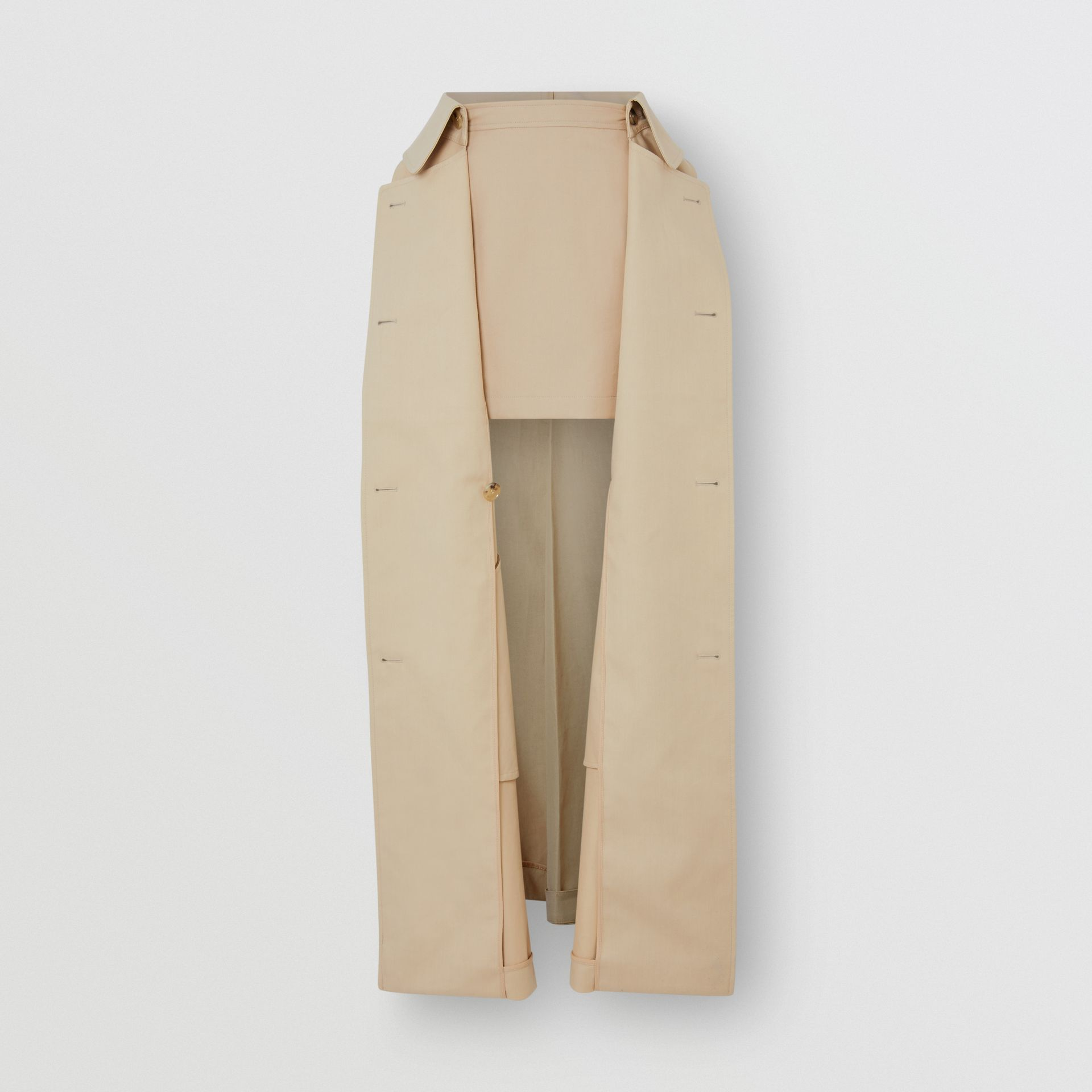 Detachable Trench Coat Detail Cotton Twill Mini Skirt in Soft Fawn - Women | Burberry - gallery image 3