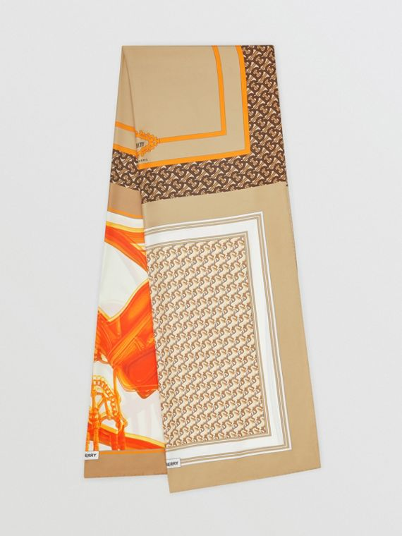 Montage Print Silk Scarf in Archive Beige