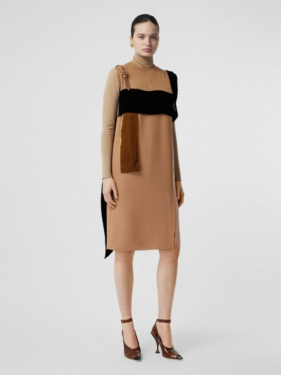 Strap Detail Panelled Silk and Velvet Dress in Biscuit