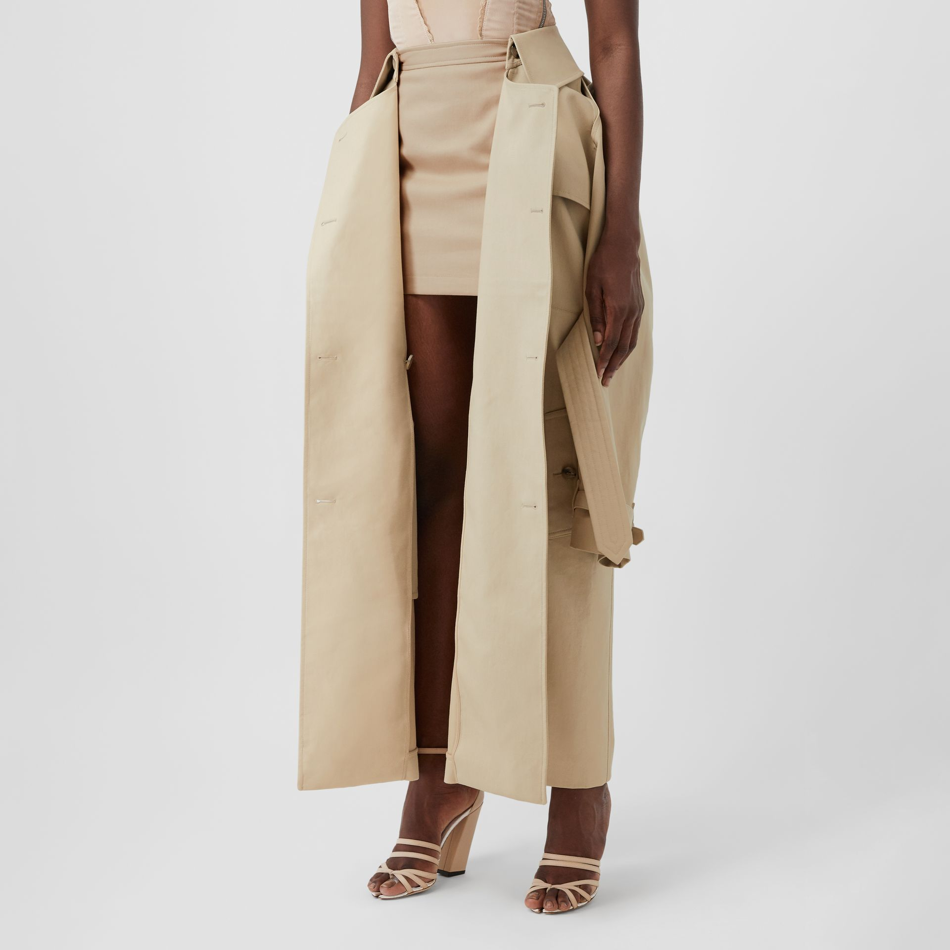 Detachable Trench Coat Detail Cotton Twill Mini Skirt in Soft Fawn - Women | Burberry - gallery image 5