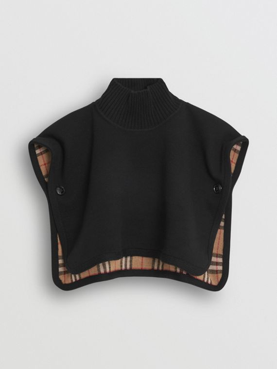 Reversible Vintage Check Merino Wool Jacquard Poncho in Black