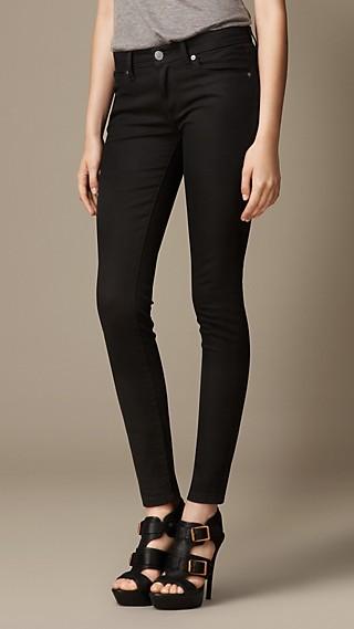 Skinny Fit Low-Rise Deep Black Jeans
