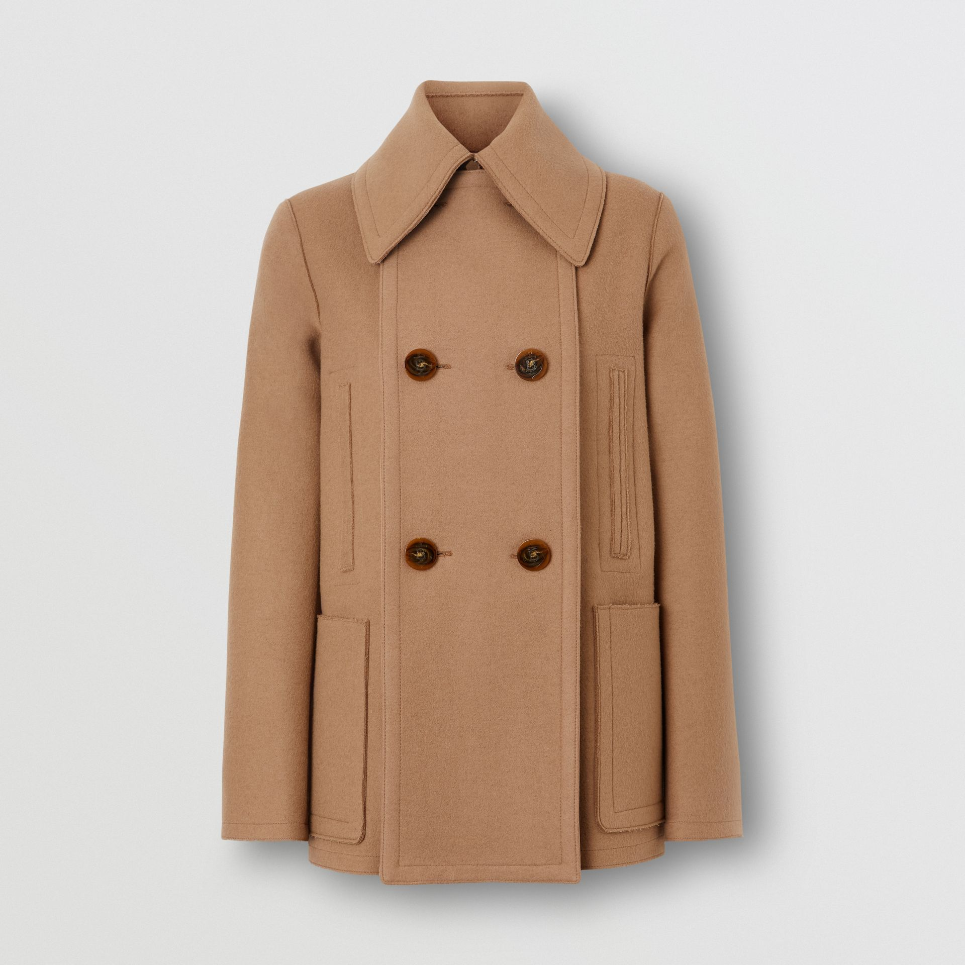 Button Panel Detail Wool Cashmere Pea Coat in Camel - Women | Burberry - gallery image 3