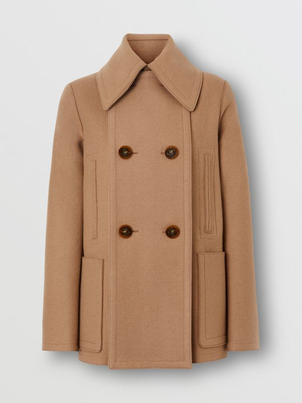 Button Panel Detail Wool Cashmere Pea Coat in Camel - Women | Burberry - cell image 3