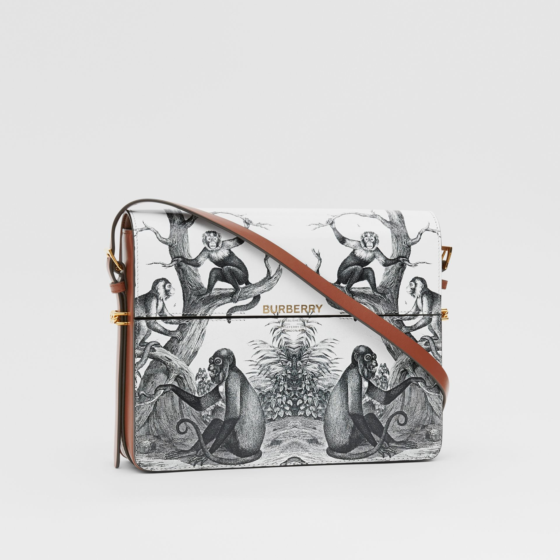 Large Monkey Print Leather Grace Bag in Black/white - Women | Burberry - gallery image 6