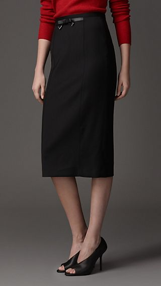 Bow Detail Stretch Wool Blend Pencil Skirt