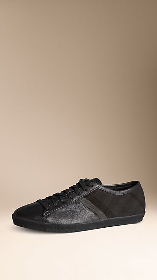 Check Cotton Leather Trainers