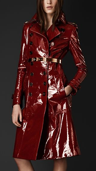 Laminated Leather Trench Coat