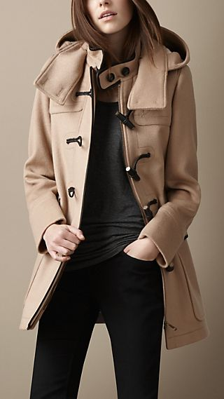 Leather Trim Wool Duffle Coat