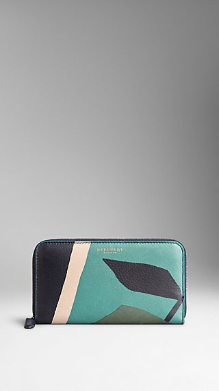 Book Cover Print Leather Ziparound Wallet