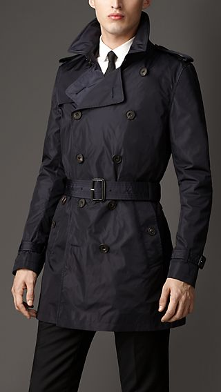 Mid-Length Technical Nylon Trench Coat