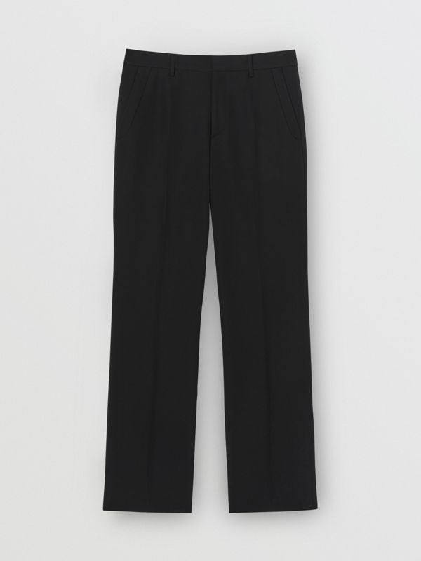 Classic Fit Wool Tailored Trousers in Black - Men | Burberry United Kingdom - cell image 2