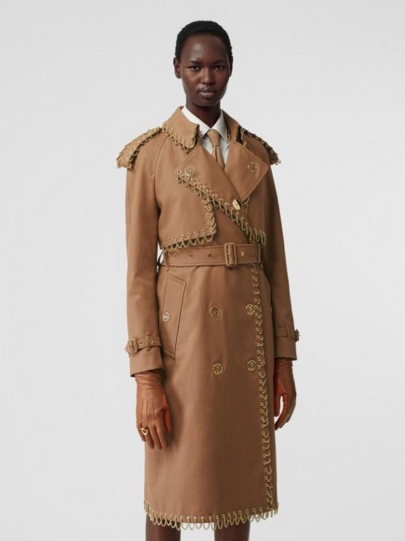 Chain Detail Cotton Gabardine Trench Coat in Warm Walnut