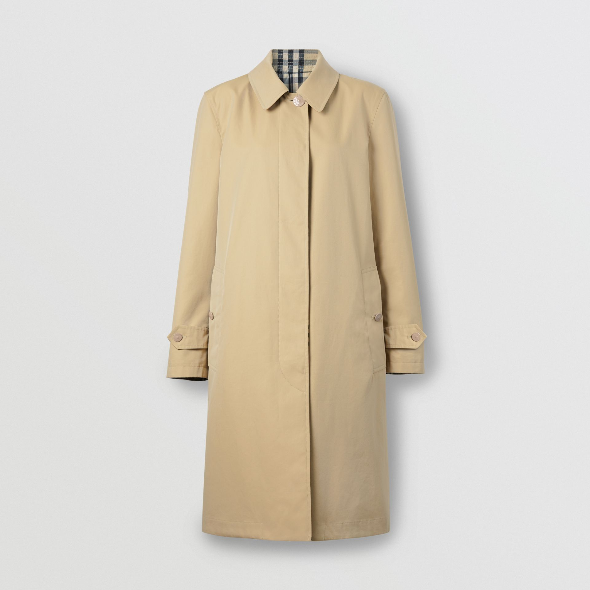 Reversible Cotton and Vintage Check Car Coat in Honey - Women | Burberry - gallery image 2