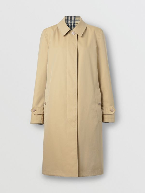 Reversible Cotton and Vintage Check Car Coat in Honey - Women | Burberry - cell image 2