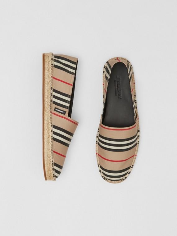 標誌性條紋麻織鞋 (典藏米色)