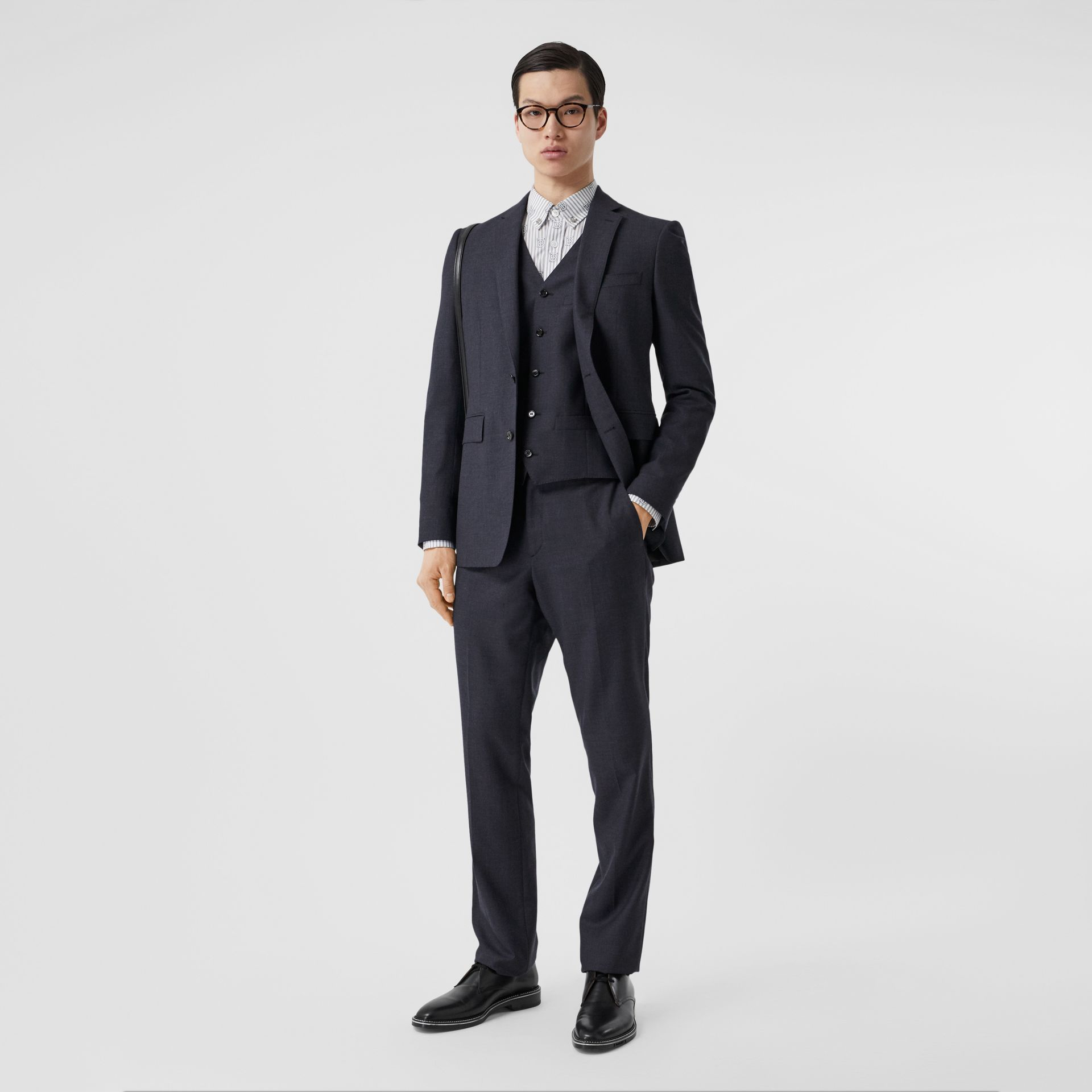 Classic Fit Wool Three-piece Suit in Navy - Men | Burberry - gallery image 0
