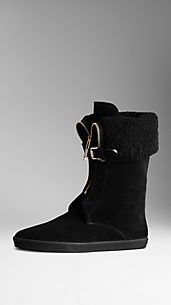 Shearling-Lined Suede Weather Boots