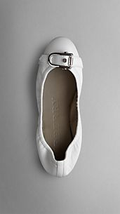 Equestrian Buckle Leather Ballerinas