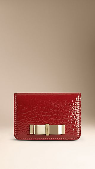 Bow Detail Patent Leather Card Case